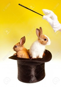 9550955-Magician-with-magic-wand-with-two-rabbits-in-a-top-hat-Stock-Photo